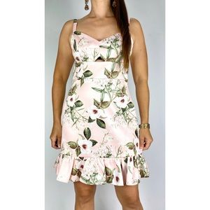 FOREVER NEW Light Pink Floral Print Cut Out Ruffle Hem Dress Size AU 12